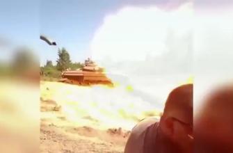 """""""Шутка"""" танкиста Т-72 надолго запомнится снимавшему видео"""
