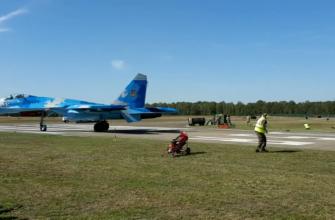 Су-27 ВВС Украины сдул авиатехников на авиашоу Sanicole Airshow