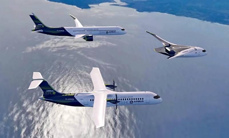 Airbus показал три концепта первого в мире водородного лайнера